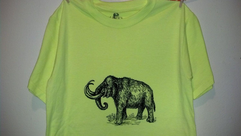 Custom Woolly Mammoth Screen Printed T Shirt Black Ink On Neon