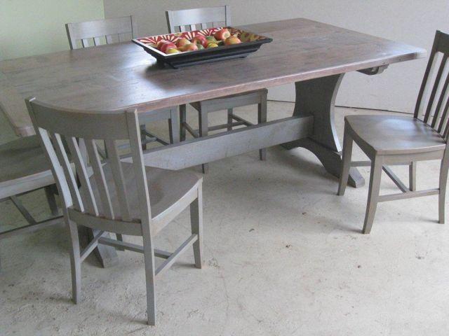 Handmade Pine Trestle Base Dining Table