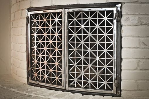 Custom Made Steel Fireplace Doors