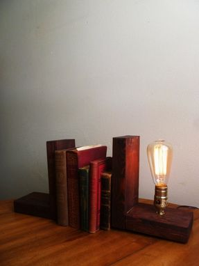 Custom Made Barnwood Edison Bookend Table Lamp