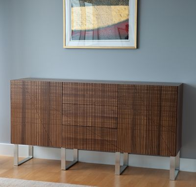 Custom Made Etched Walnut Credenza