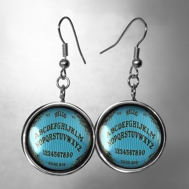 Custom Made Silver Victorian Blue Pinstripe Ouija Board Earrings 46-Slre