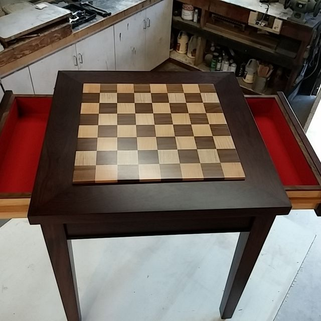 Hand Crafted Custom Exotic Wood Chess Table With Drawers by Puddle ...
