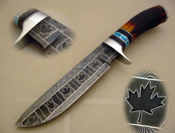 Hand Crafted Mosaic Damascus Hunting Knife By Cote Custom
