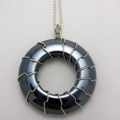 Custom Made New Hematite Donut Bead Pendant Hand Wrapped With Sterling Silver By Cristina Hurley