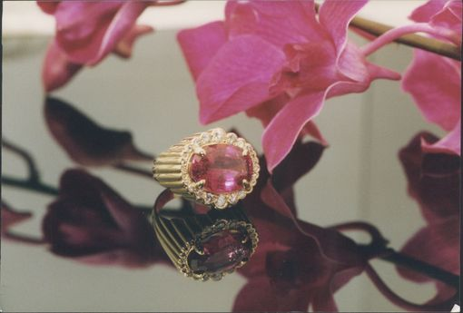 Custom Made 18kt. Gold'scalloped-Side' Rubelite-Tourmaline &Diamond