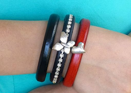 Custom Made Red Regalize Leather Silver Heart Bracelet