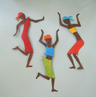 Custom Made Metal Art Wall Sculpture Caribbean Dancer Wall Hanging Reclaimed Metal Wall African Decor
