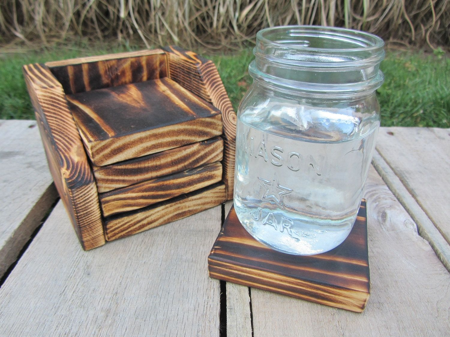 Hand Crafted Coaster Set Of 4 With Holder Made From Reclaimed Pallet Wood By Reclaimed Interior