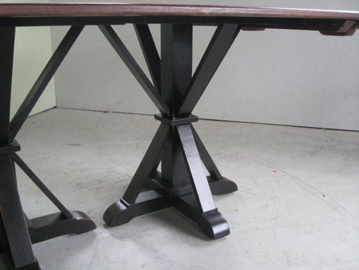 Custom Made Double Pedestal Brown Cherry Dining Table
