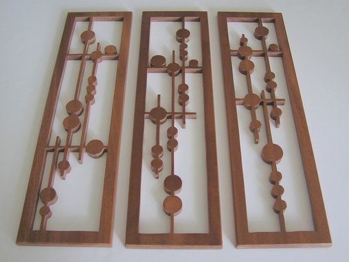 "Custom Made Mahogany Fretwork Grouping ""Disks In Alignment"""