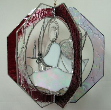 Custom Made Stained Glass Christmas Angel Suncatcher Whirl