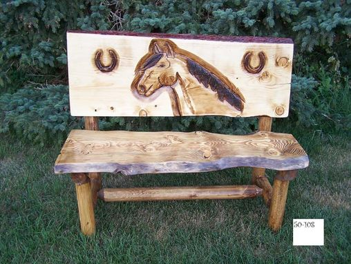 Custom Made Rustic Horse Head Bench