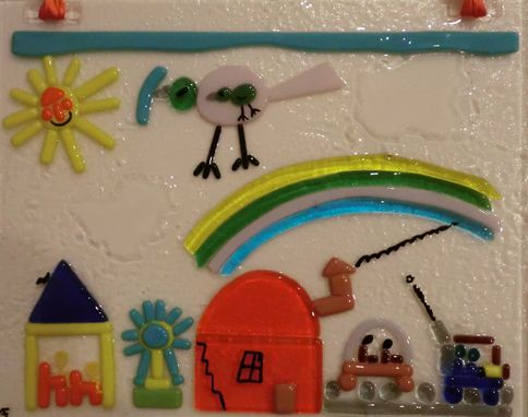 Custom Made Window Decor - Replica Of A Kids Painting In Fused Glass
