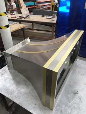 Custom Made #55 Polished Crown Range Hood With Brass Straps