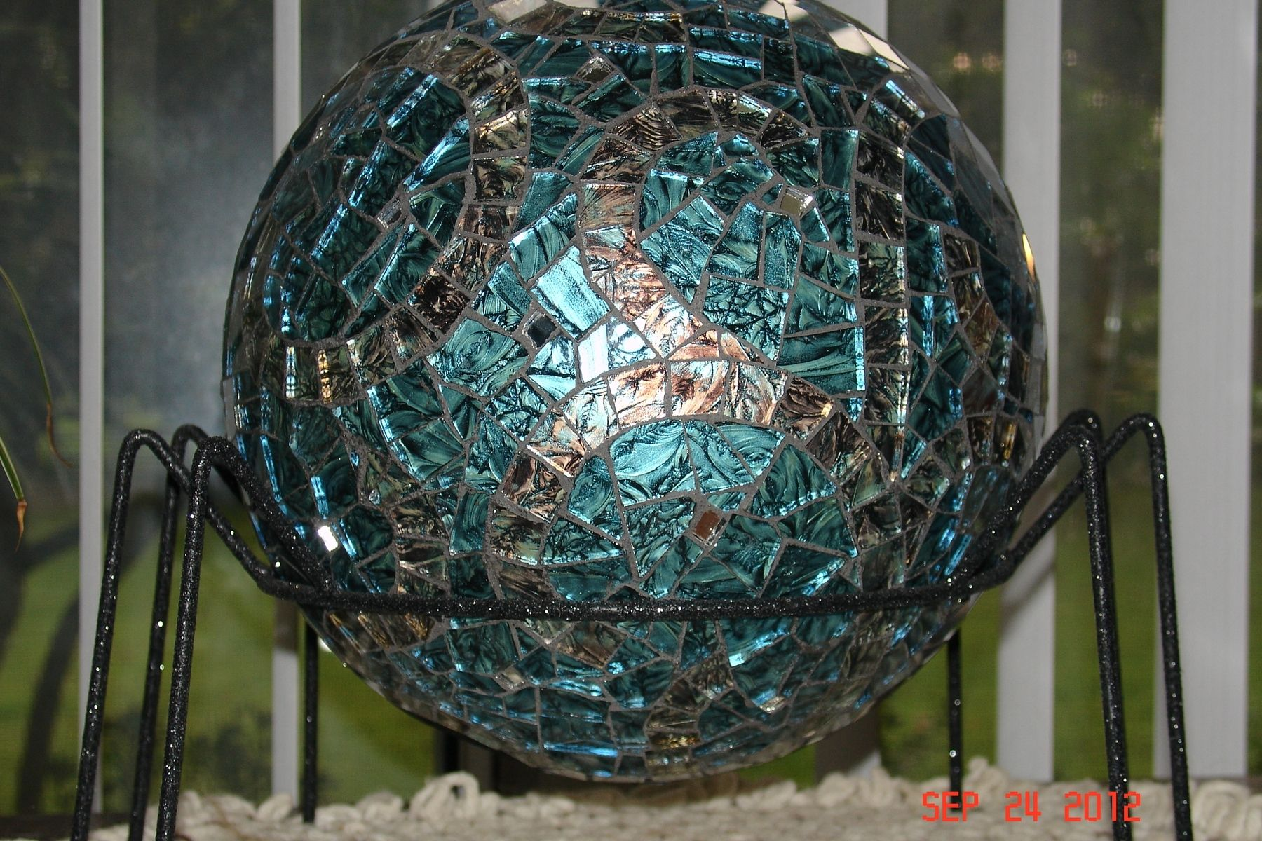 Hand Made Van Gogh Stained Glass Mosaic Gazing Ball Made