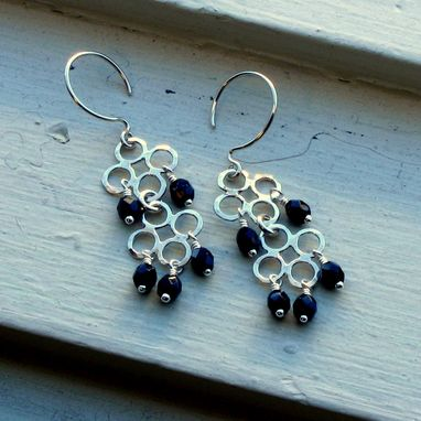 Custom Made Sterling Lucky Clover Earrings Black Crystals