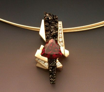 Custom Made 14k Gold Garnet And Black Druse Pendant