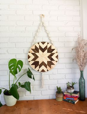Custom Made Kehaar - Round Macrame Wood Wall Art Hanging