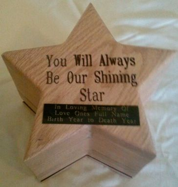 Custom Made Oak Star Shaped Cremation Urn