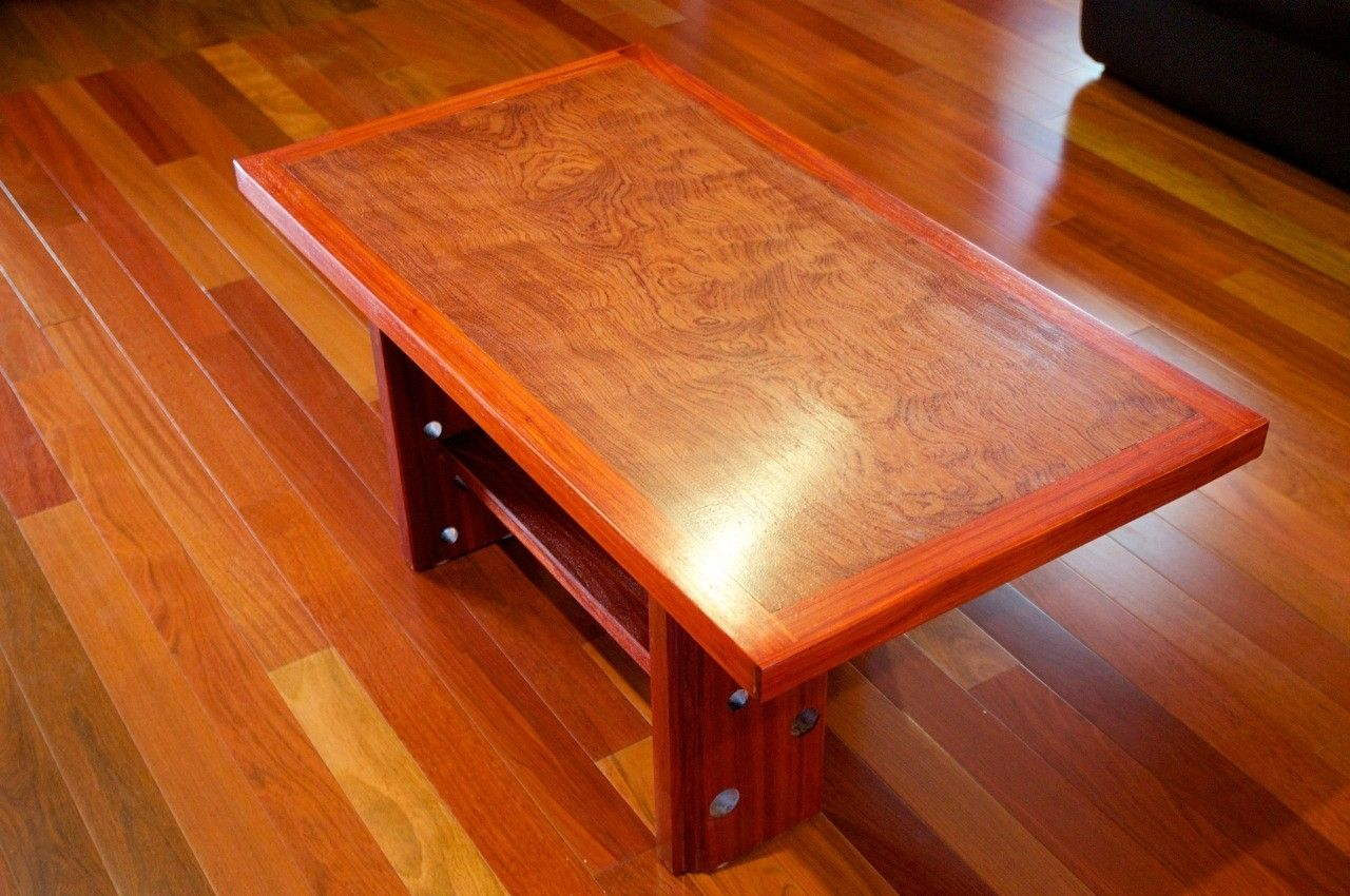 Hand Crafted Custom Made Exotic Wood Coffee Table By