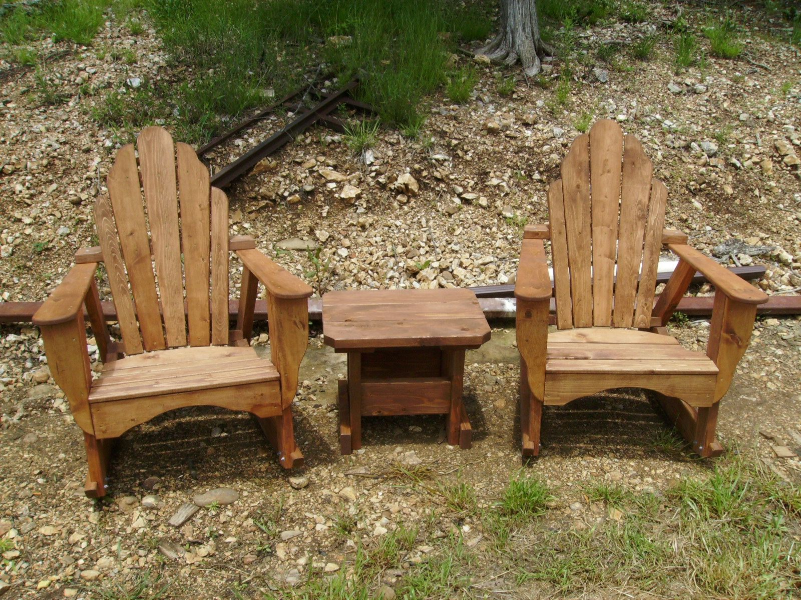 Excellent Handmade Adirondack Rocking Chairs W Table Cedar Or Stained Pdpeps Interior Chair Design Pdpepsorg