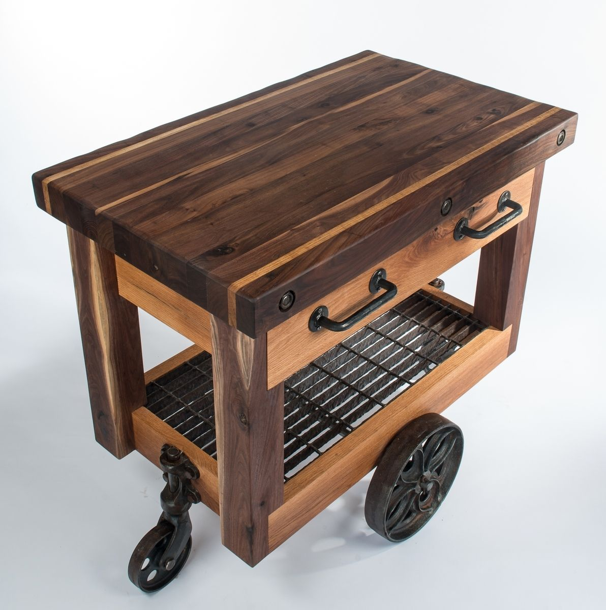 Hand Crafted Walnut And Oak Lineberry Factory Cart Butcher S Block Island By Wood Works Custommade