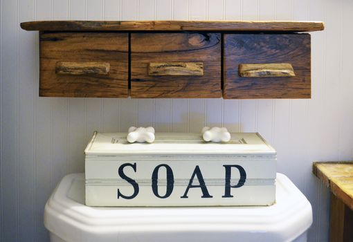 Custom Made Rustic Floating Bathroom Storage Shelf