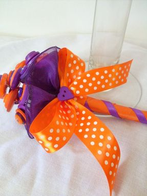 Custom Made Purple And Orange Buttons Mini Bouquet