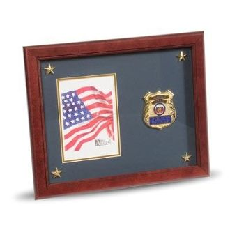 Custom Made Police Department Medallion Picture Frame With Stars