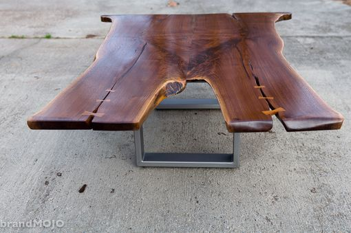 Custom Made Walnut Coffee Table With Stainless Base