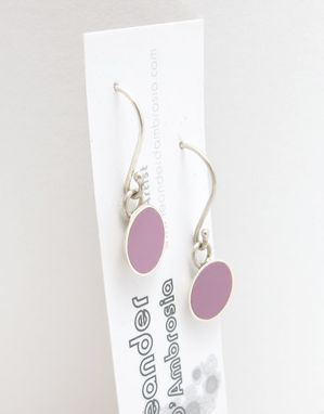 Custom Made Round Resin Inlay Earrings - Pink Resin Dangle Earrings - Recycled Sterling Silver