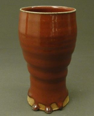 Custom Made Stoneware Tall Cup Glazed With A Copper Red Glaze, (Sku 42)