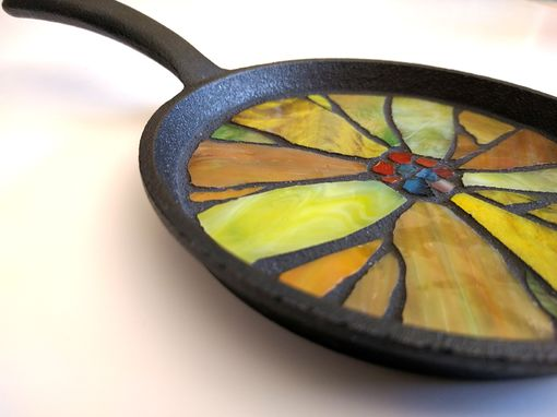 Custom Made Sunflower Coaster, Stained Glass Sunflower Mosaic Hot Pot Trivet