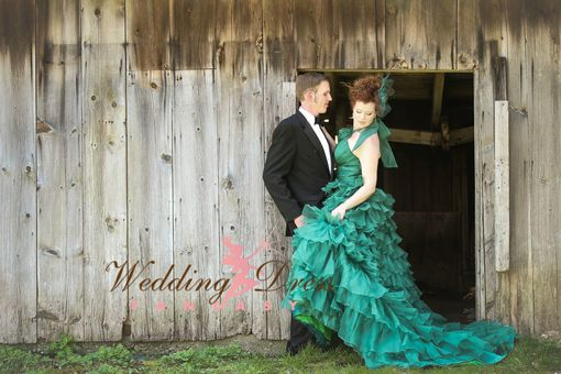 Custom Made Green Rustic Wedding Dress