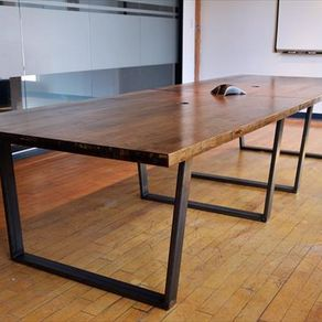 Reclaimed Wood Conferance Table On Metal Base By Alan Washington