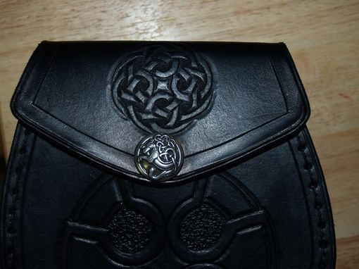 Custom Made Scottish Leather Sporran Bag W/Celtic Knot Design & Matching Sporran Hangers