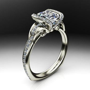 Custom Made Open Diamond Collar Solitaire Engagement Ring