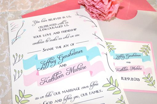 Custom Made Modern Illustrated Flowers Basic Wedding Invitation