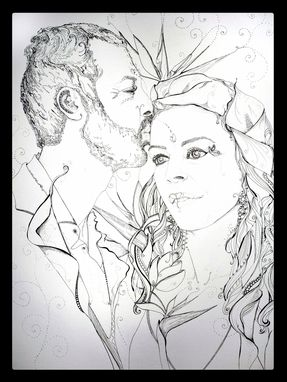 Custom Made Wedding Portrait Drawing From Photograph