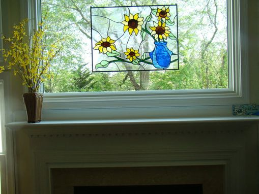 "Custom Made Stained Glass Hanging Panel - ""Lovely Sunflowers"" (P-62)"