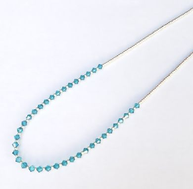 Custom Made Teal And Silver Beaded Necklace With Silver Snap Clasp