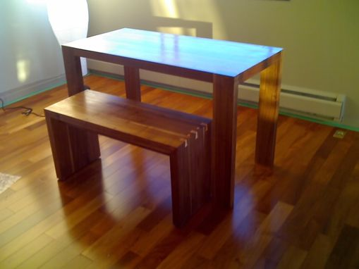 Custom Made Contemporary Black Walnut Desk And Bench
