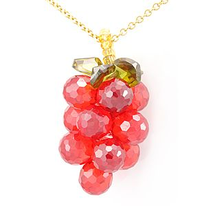 Custom Made Orange Crystals Grape Pendant In 14k Yellow Gold Chain, Grape Inspired Necklace