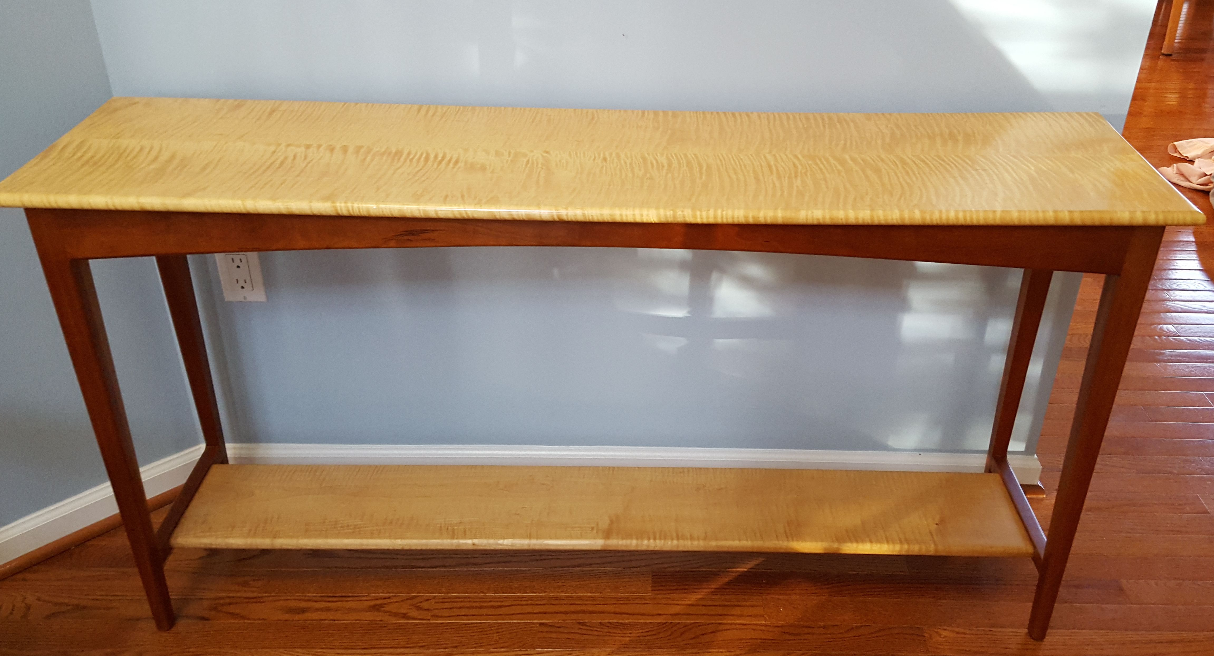 Hand made curly maple and cherry sofa table by lehigh for Sofa table cherry