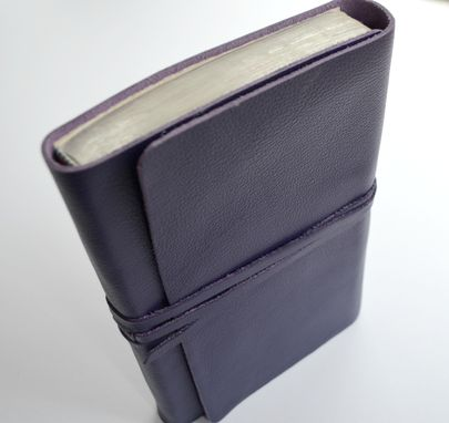 Custom Made Custom Hand Made To Order Royal Purple Custom Leather Bible Cover Sleeve Pocket Sterling (409b)