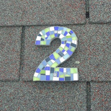 Custom Made Custom Outdoor Mosaic Modern House Number In Green, Blues, White Stained Glass Tiles