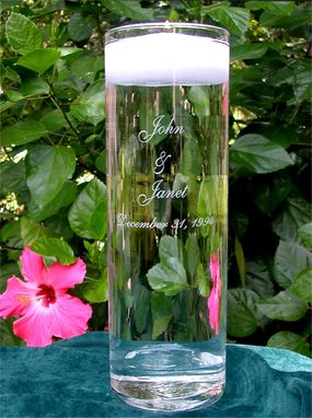 Custom Made Personalized Glass Floating Wedding Unity Candle