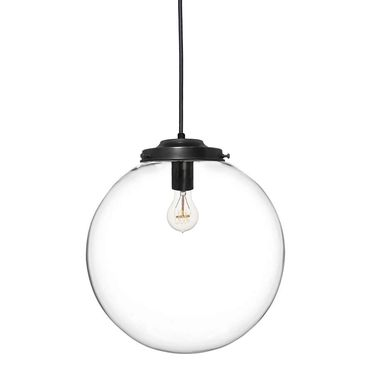 "Custom Made 16"" Clear Blown Glass Globe Chandelier Pendant Light- Black"