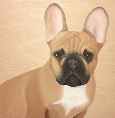 Custom Made Custom Pet Portrait, Wood Panel, Personalized Dog Cat Memorial Painting